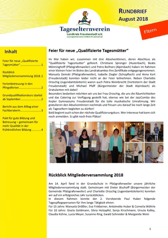 Rundbrief Eltern August 2018